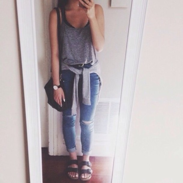 jeans shirt tank top grey