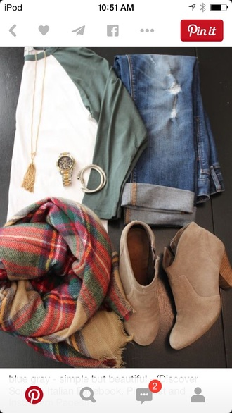 shoes suede boots tan heels colorblock army green boyfriend jeans red flannel scarf distressed denim shorts gold watch gold necklace gold bracelets gold bracelet