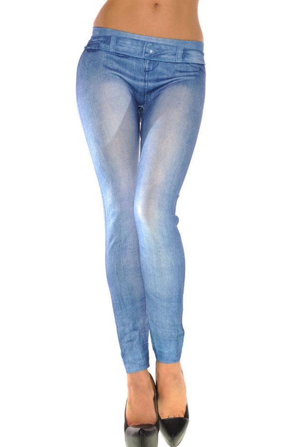 Light blue denim jean print skinny jegging leggings