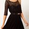 Black lace splicing half sleeve flared dress