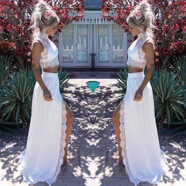 dress white crop halter top skirt