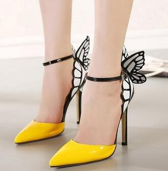 shoes heels butterfly butterfly heels butterfly heels colorful. colorful yellow yellow heels high heels yellow high heels