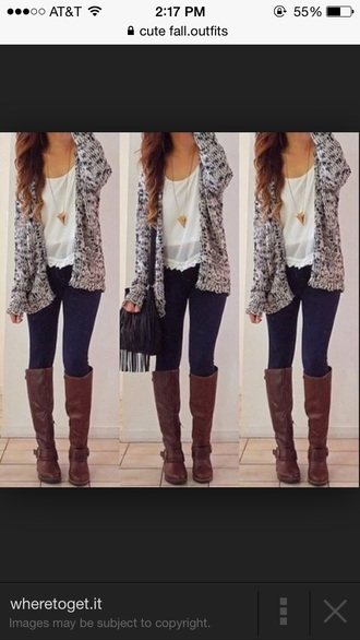 long boots blouse cardigan long brown boots