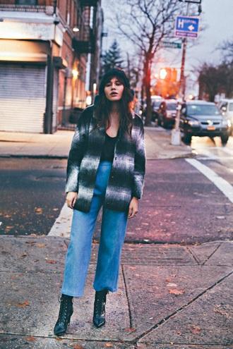 natalie off duty blogger wool jacket black boots