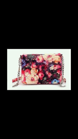bag topshop purse hamdbag clutch chain floral