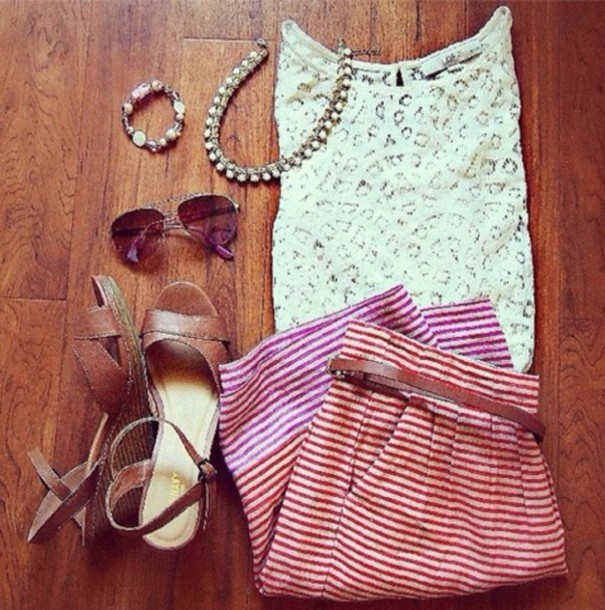 skirt striped skirt red shirt lace old navy sandals necklace spring summer sunglasses