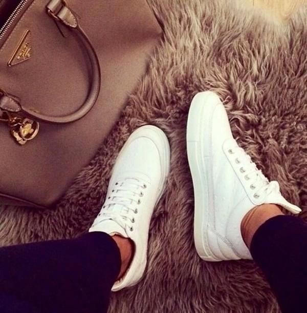 prada crossbody bag leather - Shoes: white shoes, trendy, platform shoes, prada bag, bag, prada ...