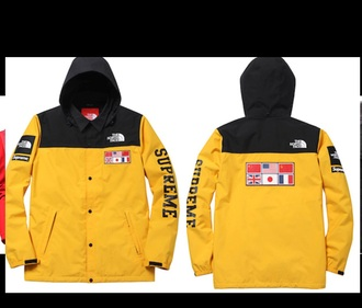jacket the north face x supreme expedition north face supreme yellow japan