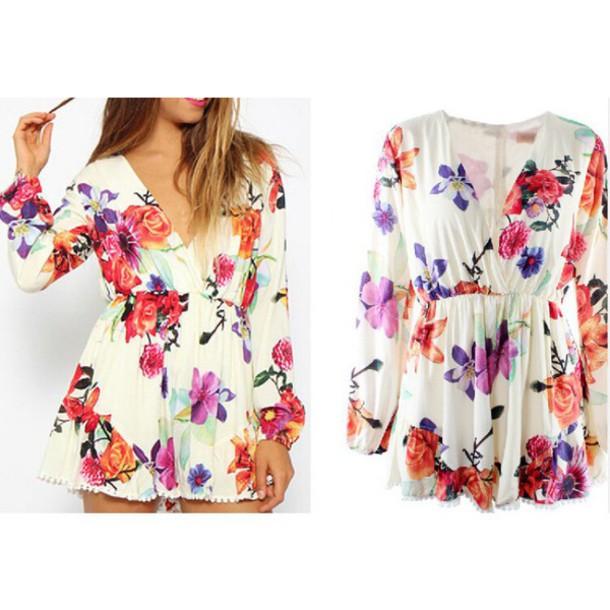 6191a91a3053 jumpsuit floral floral tank top floral dress v neck dress plunge v neck  white deep v