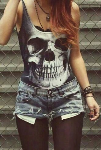 top black & white skull bones skelton tank top shirt dead