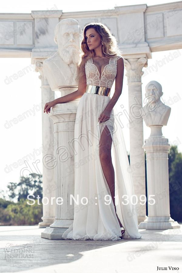 Fashion Hight slit chiffon wedding dress 2014 Spring Summer V ...