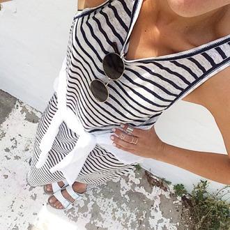 dress tumblr maxi dress striped dress stripes sunglasses round sunglasses birkenstocks white shirt slide shoes knuckle ring ring