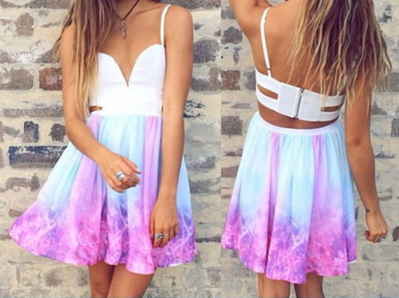 dress galaxy colorful pastel galaxy dress galaxy pattern pastel color pastel pink pastel blue pastel galaxy kawaii colorful dress Edgy Dresses edgy