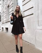 dress,mini dress,long sleeve dress,black boots,heel boots,black bag