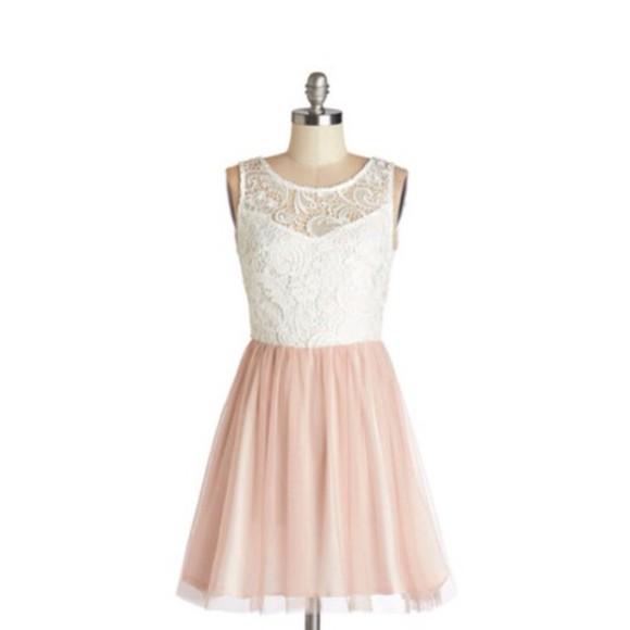white pink pastel dress pink dress cute dress white dress lace dress coral dress mini dress lace top dress prom dress sleeveless sleeveless dress tutu dress backless