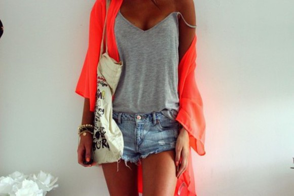blouse v-neck top shirt bag jewels grey shorts blue v-neck top