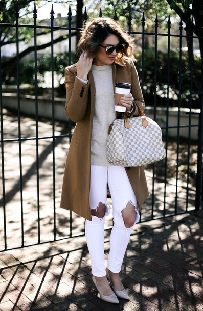 life & messy hair blogger coat shoes jeans sweater bag sunglasses jewels brown coat louis vuitton bag pumps white jeans grey sweater spring outfits