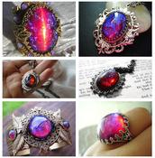 jewels,ring,stone,opal,dragon's breath,necklace,blue,pink,orange,jewelry