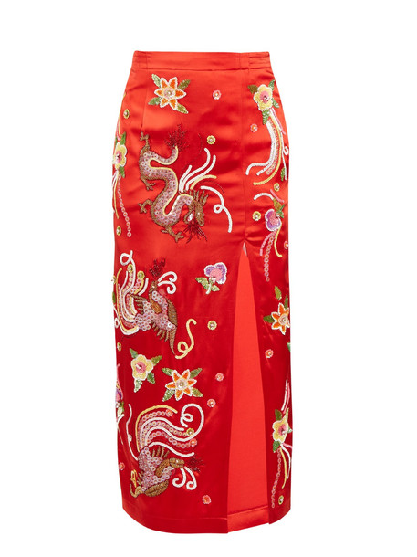 skirt embroidered satin red