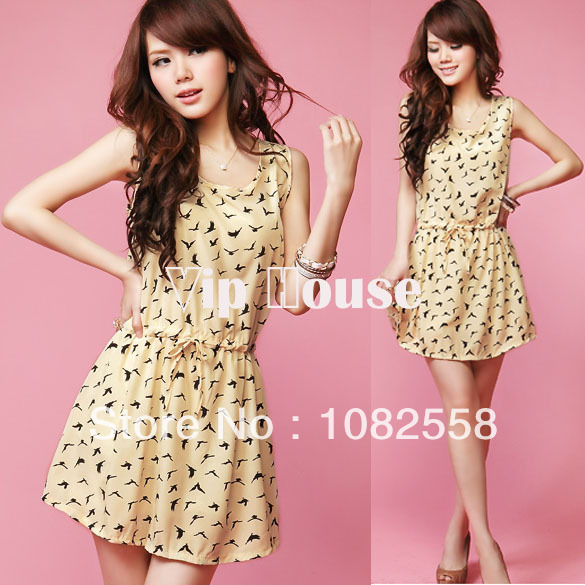 2014 New Women's Dress Bird Animal Print Crew Neck Casual sleeveless Mini Chiffon Dress Sundress drop shipping 4557 -in Dresses from Apparel & Accessories on Aliexpress.com