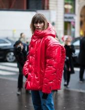 jacket,hooded jacket,tumblr,red jacket,winter jacket,puffer jacket,streetstyle,jeans,denim,blue jeans