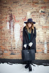 the marcy stop,blogger,winter coat,leather bag,tote bag,winter outfits,sweater,jeans,coat,hat,jewels,bag,gloves,shoes,knitted gloves