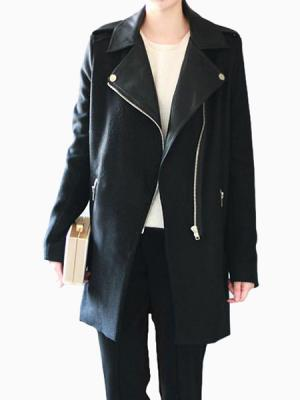 Locomotive Zipper Wool Black Coat With Leather Splicing | Choies