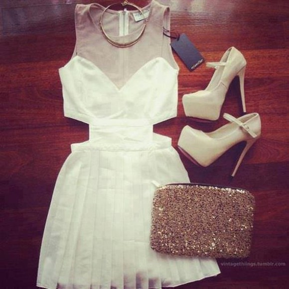 white dress high-low dresses high heels gold sequins necklace bag shoes