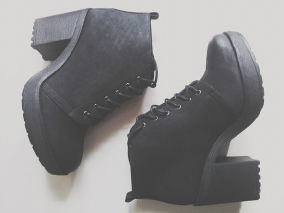 lace up boots high heels cleated sole