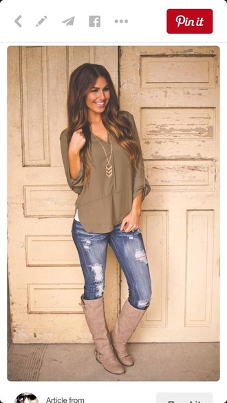blouse army green green jeans ripped jeans boots style white tank top shirt fall outfits brown leather boots tan top