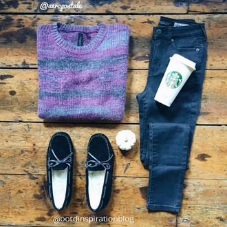 starbucks coffee knitted sweater loafers skinny jeans jeans purple ootd outfit winter outfits fall outfits fall sweater winter sweater indie hipster