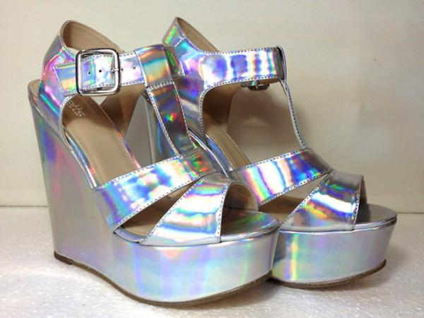 shoes high heels platform shoes platform shoes silver shoes holographic holographic shoes