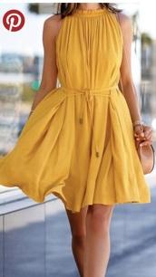 dress,yellow dress,flowy