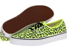 Vans Authentic Skate Shoes (Neon Leopard) Yellow/Black : Men's 8 - Women's 9.5 Medium