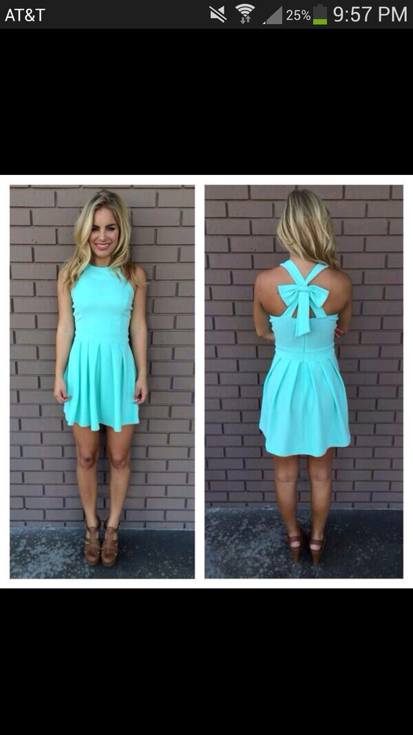 dress turquoise blue aqua cute short cross back cross back dress blue dress blue mini dress open cross bow back