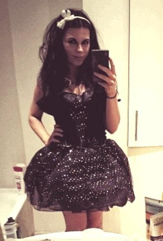 dress little black dress sparkly dress tutu