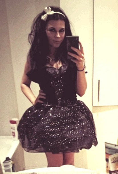 dress black dress sparkly dress tutu