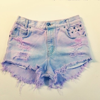shorts pastel ripped shorts distressed shorts studs denim shorts