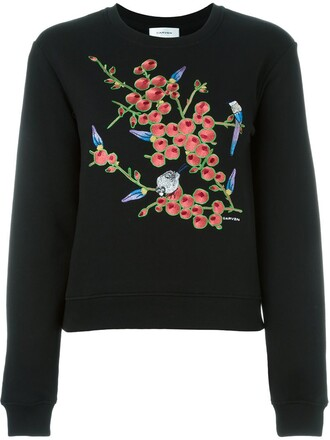 sweatshirt floral print black sweater