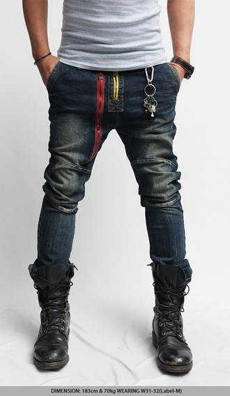 jeans zip red yellow style fashion