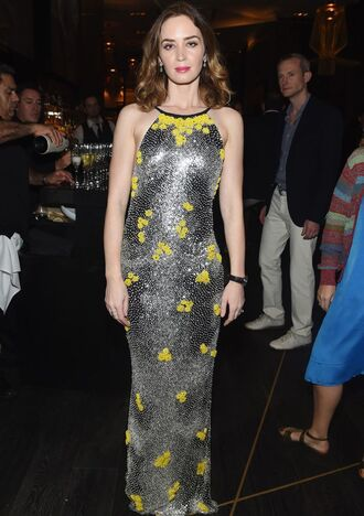 dress gown emily blunt prom dress sequins silver metallic