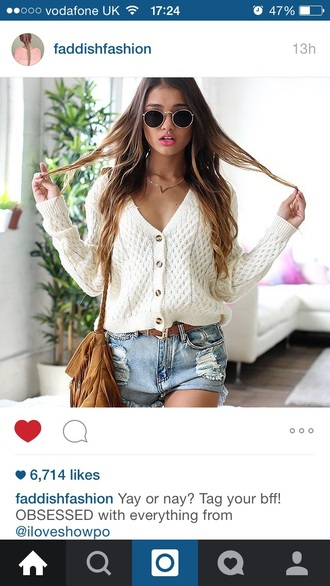 cardigan sweater shorts sunglasses cream cardigan summer outfit ripped shorts distressed shorts denim shorts retro round sunglasses cream sweater fashion style summer outfits
