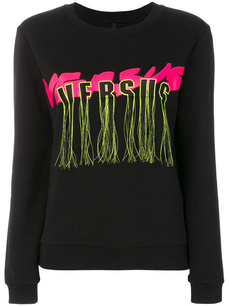 sweatshirt tassel women cotton black sweater