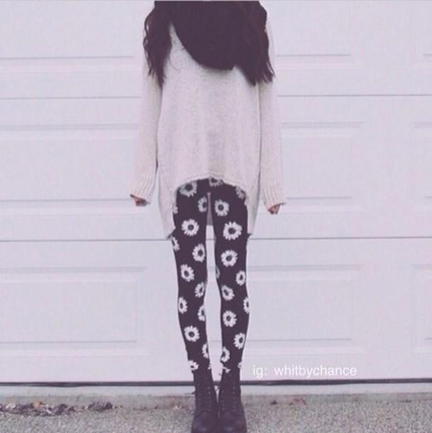 pants cream sweater scarf daisy leggings shoes