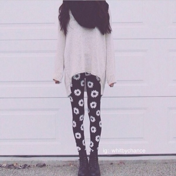 pants cream sweater scarf daisy leggings shoes