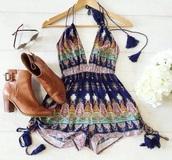 romper,boho,summer,cute,lowcut,tassel,bohemian,jumpsuit,pattern,blue dress,pink dress,summer dress,summer top,v neck,colorful,sexy