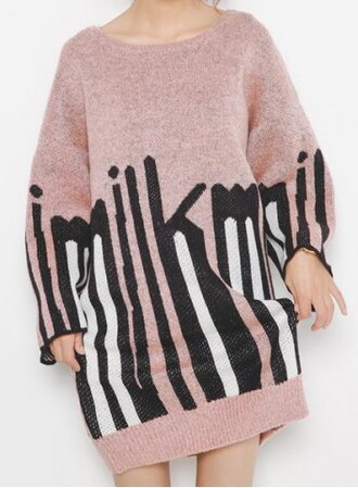 dress pink fashion style long sleeves sweet scoop neck letter pattern long sleeve dress for women black white trendy warm fall outfits rosegal-dec