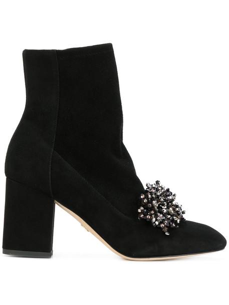 Elie Saab women embellished leather suede black shoes