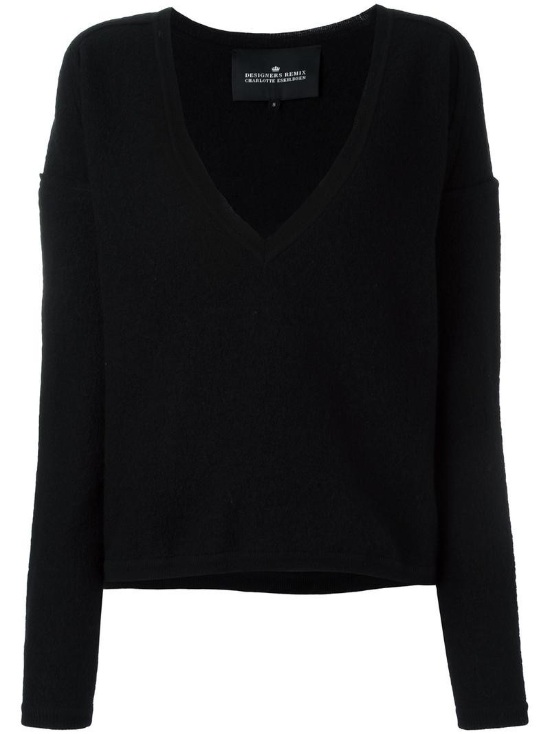 f4e39e47061 Designers Remix 'Karun' V-neck jumper, Women's, Size: XXS, Black, Wool