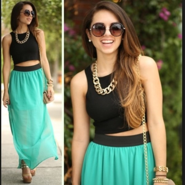 skirt mint mint skirt mint maxi skirt gorgeous black crop top crop tops gold jewelry gold sunglasses round sunglasses fashion summer follow me! girly tank top jewels t-shirt
